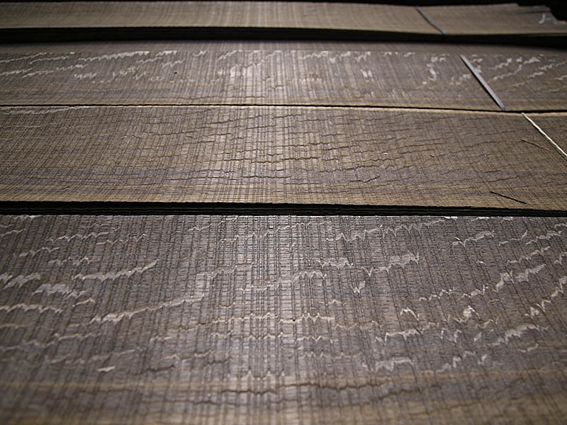 Rift Cut Fumé Scratched Red Oak